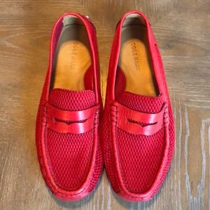 Cole Haan Red Leather & Mesh Loafer Mens 10